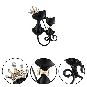 Bledyi Ladies Black Cat Corsage Brooch Girl Cute Animal Brooch Stylish Simple Metal Brooch Suitable for Work/Dating