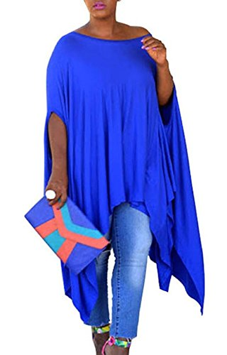 Women's Asymmetry Loose Tunic Tops Scoop Neck Short Sleeve Dress Poncho Cape Top Blouse, Blue, (Plus Size Poncho)