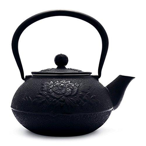 TransSino Treasures 45 Ounce Cast Iron Teapot Peony Motif in Black - Motif Cast Iron