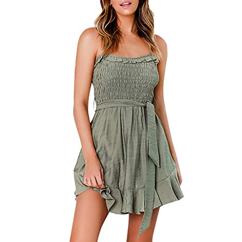 JESPER Women Casual Solid Spaghetti Strap Loose Party Smocked Tops Above Knee Mini Dress (Army Green, Large(USA 12) /Tag XL) ()