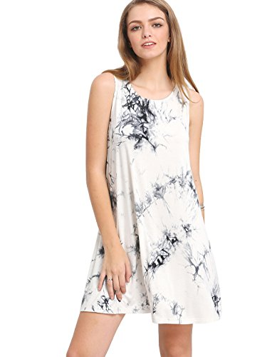 ROMWE Women's Tie Dye Sleeveless Casual Loose T-Shirt Dress Swing Tunic Top