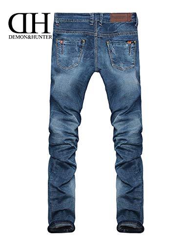 Pantalones Pantalones Slim Straight Dh8309XBlau Pants Mens Color Denim Jeans Pantalones Stretch Vintage Slim 36 Size Jeans 32L T Fashion Largos Fit Casuales w8OPcqgY