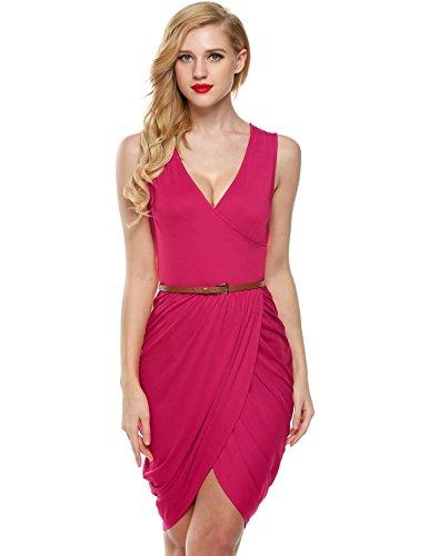 ELESOL Women Ladies Slit Front Stretchy Ruched V Neck Short Dress Pink XL