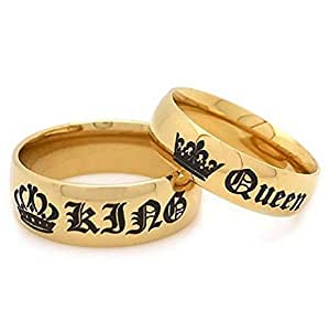 Newest His Queen Ring Womens Stainless Steel Anniversary Rings Couples Gifts, Golden (Her Size 5)