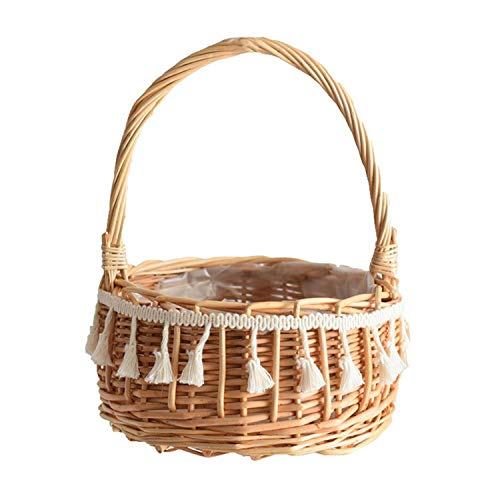 Rattan Basket Portable Flower Plant Basket Toy Fruit Storage Floral Flower Basket Outdoor Picnic Furniture Storage Organizer,as Shown (Outdoor Australia Bamboo Furniture)