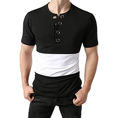 Willsa Men Cotton Metal Button Blouse Casual Slim Fit Short Sleeve Patchwork Color Pollover Shirt