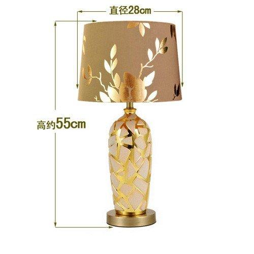 YFF@ILU Keramik Tischlampe, europäischen Stil Wohnzimmer Schlafzimmer Lampen, Lampen, gold Luxus dekorative Tischlampen, verstellbare Everbright Lichter, D