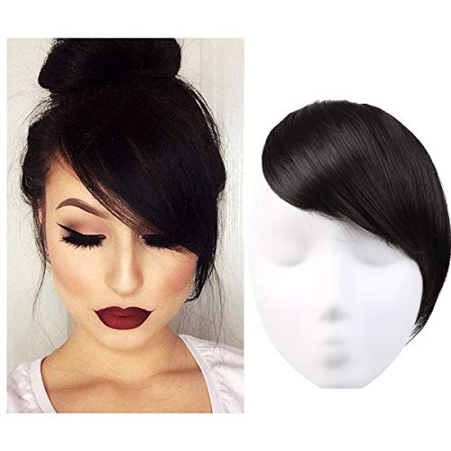 Clip in Hair Bangs Fringe Black Hair Extensions Swept Full Sweeping Side Synthetic Hairpiece Hair Piece For Women Japan High Temperature Fiber SARLA B2&2