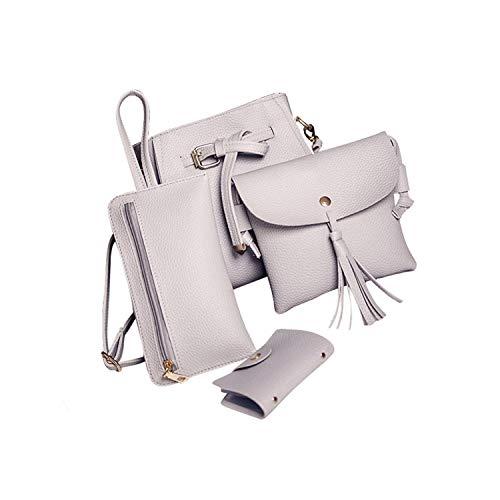 (4 Pcs/Set Crossbody Bags Pu Leather Handbags Women Bags Messenger Bag Bag,Gray,)