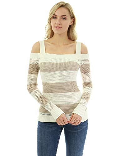 PattyBoutik Women Open Stitch Cut Out Shoulder Striped Sweater (Tan and Ivory Large)