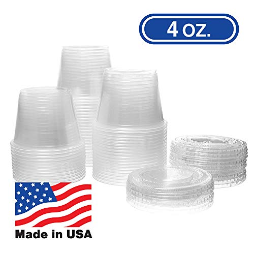 4 OZ Dart Clear Plastic Disposable Portion Cups, Jello Shot, Condiment, Sauce, Sample, Medicine, BPA Free, Made in USA (100 Cups - No Lids)