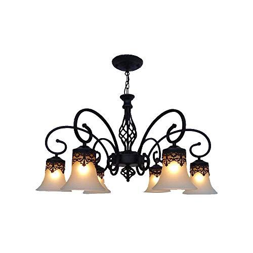 Windsor Home Deco WH-63623-6 Metal Glass Pendant Chandelier Black, Pendant Lighting