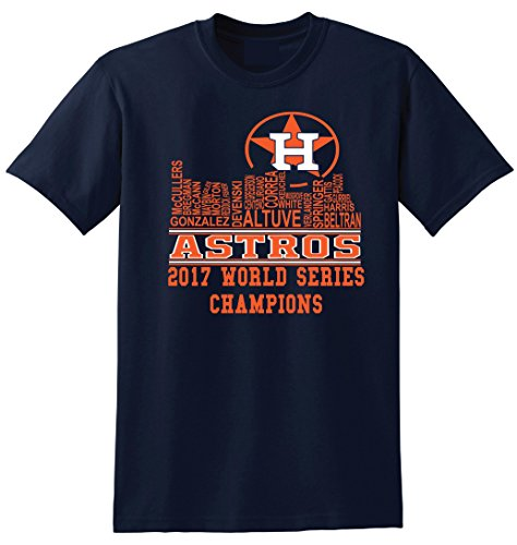 Local Imprint Houston Skyline T Shirt-L-Navy-U4 (Astros Clothes Houston)