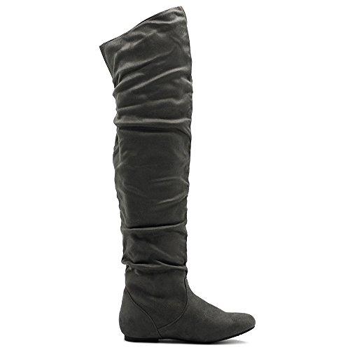 Ollio Frauen Schuh Stretch Faux Suede oder Kunstleder über die Knie flache Falten lange Stiefel Grau-SUEDE