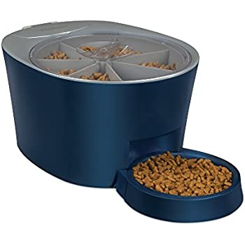 PetSafe Six Meal Automatic Pet Feeder, Dispenses Cat and Dog Food, Battery Powered Digital Clock, LCD Screen Display