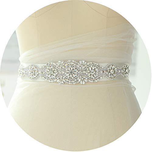 Campsis Crystal Appliques Silver Bride Wedding Bridal Belt with Ribbon Pearl Wedding Dress Sash Wave Shape Dress Accessories for Women and Girls