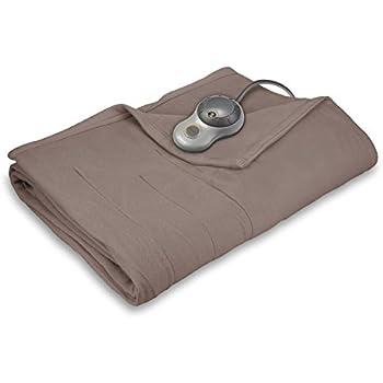Sunbeam Heated Blanket   10 Heat Settings, Quilted Fleece, Mushroom, Full - BSF9GFS-R772-13A00