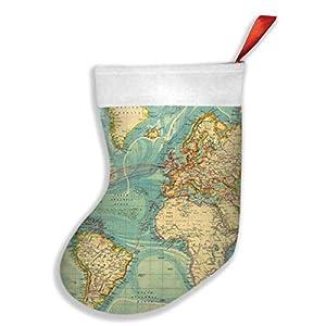 mfsore – Calcetines de Navidad para vacaciones familiares, diseño de mapamundi, 16,5 x 10,2 pulgadas