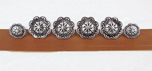 Set of 6 Saddle Trim WESTERN CONCHO_Wood Screw Back_4_1.50