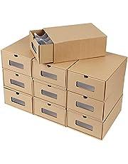 Schoenendozen schoenendoos, stapelbaar, schoenenbox van kraftpapier opbergbox , geschikt voor schoenen tot maat 42, 10 stuks