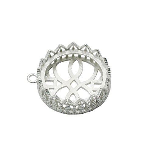 - 925 Sterling Silver 20×20mm Cups Lace Edge Pendant Settings DIY Christmas Gift