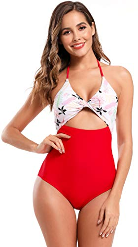 SHEKINI Dames Rugloos Badpak Uit één Stuk Monokini Uitgesneden Plooien Bikini Strik Decoratie Elegante Bikini uit één…