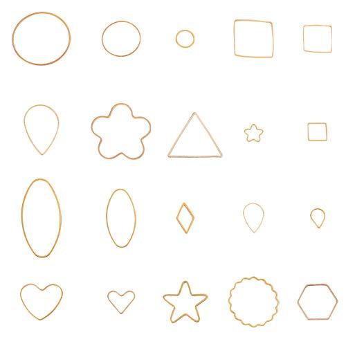 - PandaHall Elite About 200 Pcs Brass Key Open Bezel Pendant Charm Blank Frame Hollow Pendants 20 Styles for UV Resin Crafts DIY Jewelry Making Golden