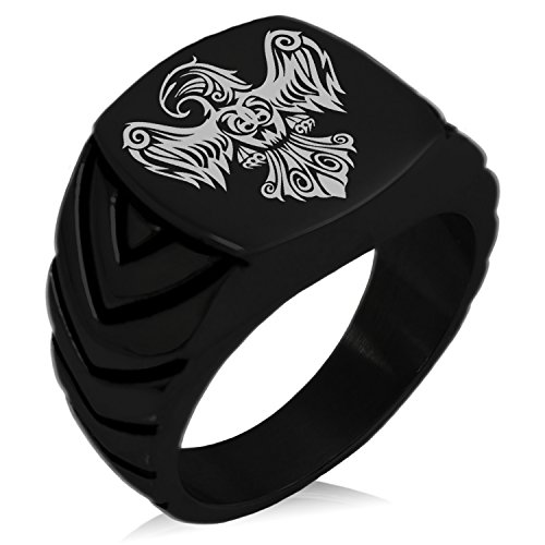 (Tioneer Black IP Plated Stainless Steel Aztec Power Strength Courage Rune Engraved Chevron Pattern Biker Style Polished Ring, Size 8)