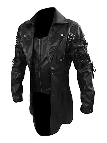 (Gothic Steampunk Men's Black Goth Matrix Trench Coat Steampunk Gothic Leather Coats- Sale (M, Real Leather))