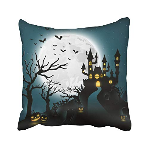 Emvency Haunted Cartoon Halloween with Castle and Pumpkin House Animal Bat Celebration Cemetery Comic Creepy Throw Pillow Covers 20x20 Inch Decorative Cover Pillowcase Cases Case Two Side -
