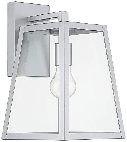 Arrington Modern Outdoor Wall Light Fixture Sleek Silver Steel 13'' Clear Glass for Exterior House Porch Patio Deck - John Timberland by John Timberland (Image #4)