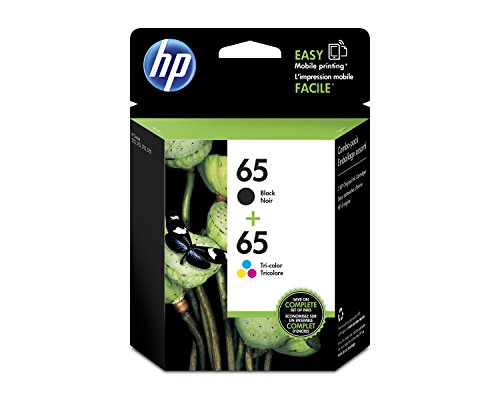 Office Products : HP 65 Black & Tri-Color Original Ink Cartridges, 2 Cartridges (N9K01AN, N9K02AN) for HP DeskJet 2624 2652 2655 3722 3752 3755 3758