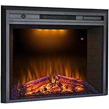 """Valuxhome Houselux 36"""" 750W/1500W, Electric Fireplace Insert with Log Speaker, Remote Control, Black"""