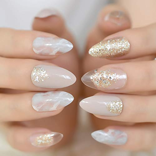 (CoolNail Pointed Stiletto False Nail Art Tips Nude Grey Marble Cloud Fake Nails Clear Shimmer Glitter Press on Full Summer Daily)
