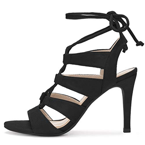 Sandals Stiletto K Open Toe Up Black Cutout Allegra Lace Heel Women qX7azWw