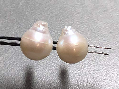 (12x10mm White Mabe Pearls and Sterling Silver Post Earrings)