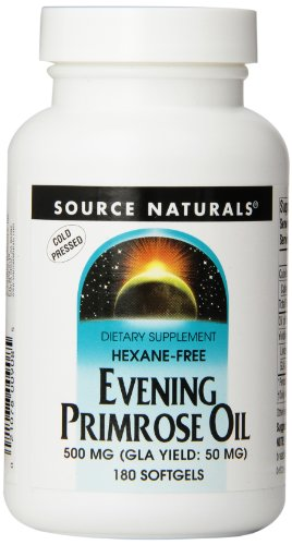 Source Naturals Evening Primrose Oil 500mg (50mg GLA) Essential High Potency Cold-Pressed Hexane-Free Source of Fatty-Acids Gamma-linolenic (GLA) and Linoleic Acid – Helps Maintain Smooth, Healthy-Looking Skin – Supports Hormonal Balance – 180 Softgels