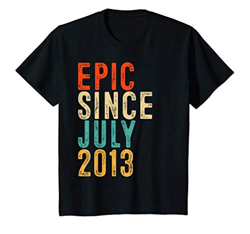 Kids Fun Epic Since July 2013 Shirt 6 Year Old Gift 6th Birthday T-Shirt (Best Gift For 6 Year Old Boy 2013)