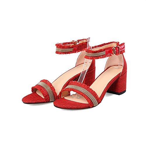 Mujer amp;X Tacones Toe Peep QIN Rojo de Bloque Sandalias wtq1dnAF