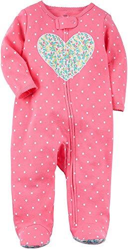 Carters Baby Girls Baby Girls Zip up Heart Cotton Sleep and Play,Pink Dot Heart ,6 Months  (Girl Carters Heart)