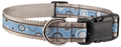 Country Brook Design - Deluxe Blue and Brown Orbs Woven Ribbon Dog Collar Limited Edition - Extra Large
