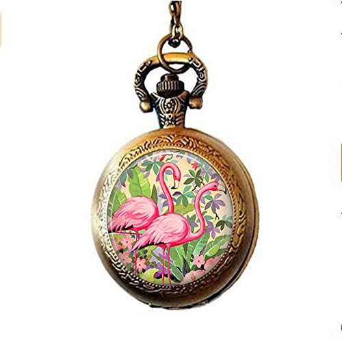 Watch Bird Flamingo - Pink Flamingoes Pocket Watch Necklace,Flamingo Jewelry, Gift Bird Lover