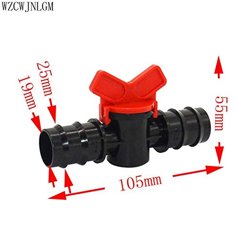 Kammas 25mm Irrigation Water Valve DN20 Coupling Tube Irrigation Hose Switch Plastic Valve Switch Garden Watering Supplies 1 pcs - (Diameter: 3/4'', Color: Black)
