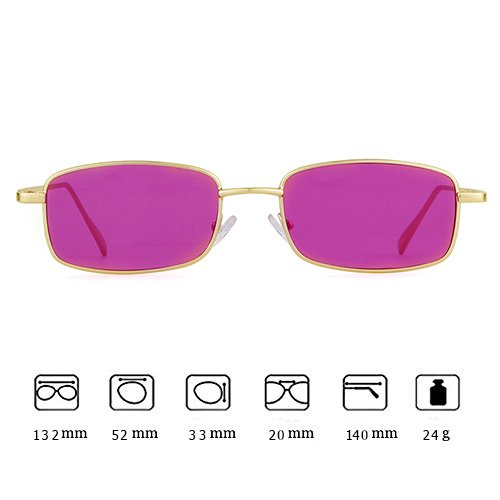 Frame Purple Square Gold Men Sunglasses Retro ADEWU Fashion Glasses for Women Lens ZPUUSx