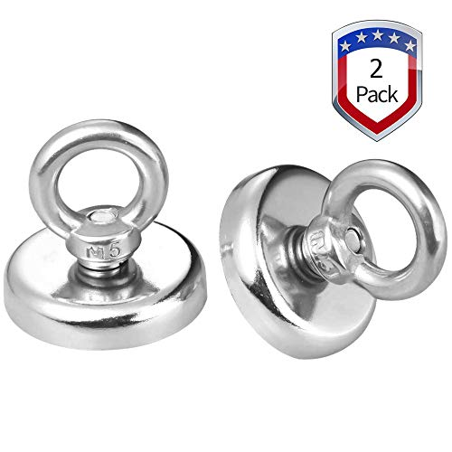 Price comparison product image Wukong 1.26''D X 1.38''H Powerful Heavy Duty Neodymium Magnetic Hooks with Eyebolt,  Strong,  Permanent,  Rare Earth Magnets, 65 LB Pulling Forces for Multi-Use (2 Packs)