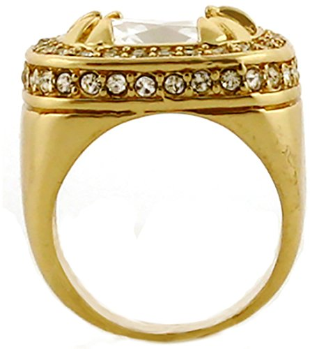 Gold Tone Synthetic Red CZ Stone Mens Rick Ross Hip Hop Style Ring (8) by GIFTS INFINITY (Image #2)