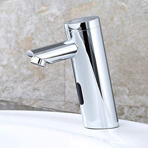 ZJN-JN 蛇口 現代のクロム銅シングルコールドスマートセンサの浴室の洗面台の蛇口ホテル非接触斜め蛇口セット 台付