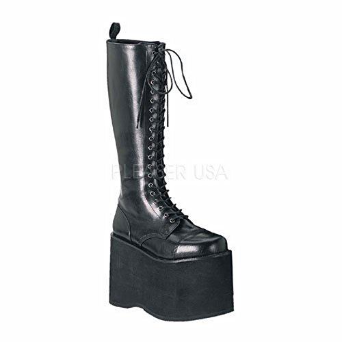 (Demonia Pleaser Gothic Punk Unisex 5 3/4 Inch Platform Lace Up Knee Boot (Black Pu;7))