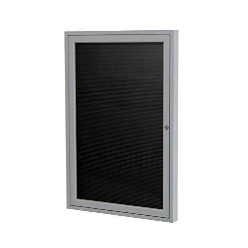 "Ghent 2"" x 1 1/2"" 1 Door  Outdoor Enclosed Vinyl Letter Board, Black Letter Panel, Satin Aluminum Frame (PA121 1/2BX-BK)"