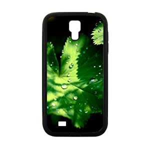 Flash green leaves water drop black background personalized creative clear protective cell phone case for Samsung Galaxy S4